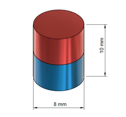 Tehnična slika magnet 8 x 10 mm